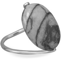 Black and White Jasper Ring 925 Sterling Silver