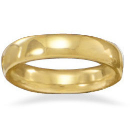 "4mm (1/6"") 14 Karat Gold Plated Band 925 Sterling Silver"