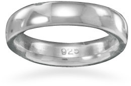 "4mm (1/6"") Rhodium Plated Band 925 Sterling Silver"