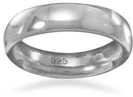 "5mm (1/5"") Rhodium Plated Band 925 Sterling Silver"