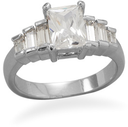 Rhodium Plated Rectangle CZ Ring with Baguette Accents 925 Sterling Silver