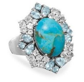 Turquoise and Topaz Ring 925 Sterling Silver