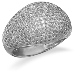 Rhodium Plated Micro Pave CZ Ring 925 Sterling Silver