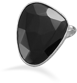 Freeform Black Onyx Ring 925 Sterling Silver