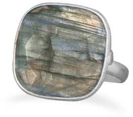 Soft Square Labradorite Ring 925 Sterling Silver