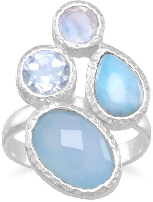 Chalcedony, Larimar, Topaz and Moonstone Ring 925 Sterling Silver