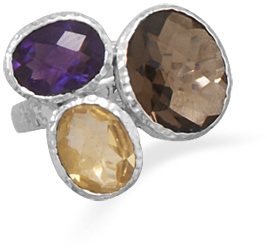 Amethyst, Citrine and Smoky Quartz Ring 925 Sterling Silver