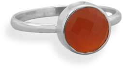 Faceted Carnelian Stackable Ring 925 Sterling Silver