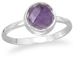 Faceted Amethyst Stackable Ring 925 Sterling Silver