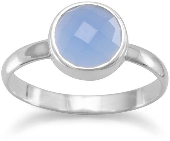 Faceted Chalcedony Stackable Ring 925 Sterling Silver