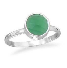 Faceted Green Onyx Stackable Ring 925 Sterling Silver