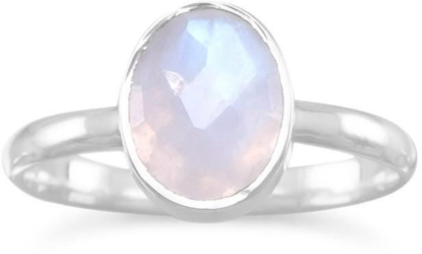 Faceted Moonstone Stackable Ring 925 Sterling Silver