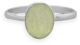 Faceted Prehnite Stackable Ring 925 Sterling Silver