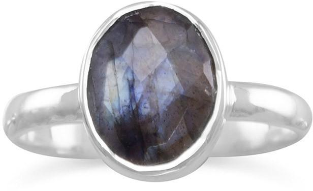 Faceted Labradorite Stackable Ring 925 Sterling Silver