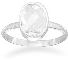 Faceted Clear Quartz Stackable Ring 925 Sterling Silver