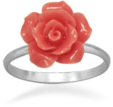 Glass Rose Ring 925 Sterling Silver