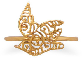 14 Karat Gold Plated Cut Out Dove Design Ring 925 Sterling Silver