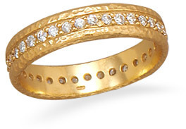 14 Karat Gold Plated CZ Eternity Ring 925 Sterling Silver