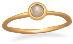 14 Karat Gold Plated Moonstone Ring 925 Sterling Silver