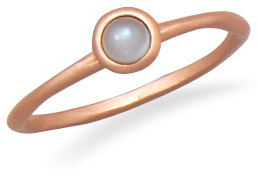 14 Karat Rose Gold Plated Moonstone Ring 925 Sterling Silver