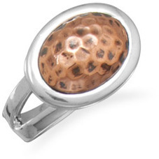 Silver Ring with Hammered Copper 925 Sterling Silver