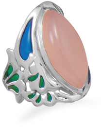 Ornate Pink Chalcedony Ring 925 Sterling Silver