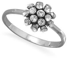 Oxidized Domed Crystal Ring 925 Sterling Silver