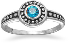 Oxidized Blue Crystal Ring 925 Sterling Silver
