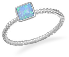 Square Synthetic Opal Ring 925 Sterling Silver