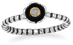 Two Tone Synthetic Opal Flower Ring 925 Sterling Silver