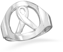 Awareness Ribbon Ring 925 Sterling Silver