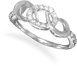 Triple Link CZ Ring 925 Sterling Silver