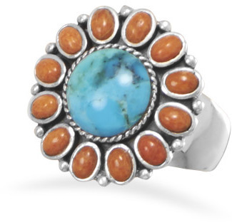 Turquoise and Coral Sunburst Ring 925 Sterling Silver