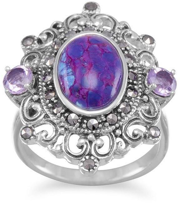Ornate Marcasite and Purple Turquoise Ring 925 Sterling Silver