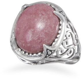 Ornate Rhodonite Ring 925 Sterling Silver