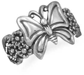 Oxidized Butterfly and Flower Ring 925 Sterling Silver