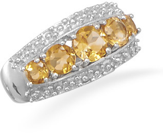 Graduated Citrine Ring 925 Sterling Silver