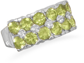 Peridot and White Topaz Ring 925 Sterling Silver