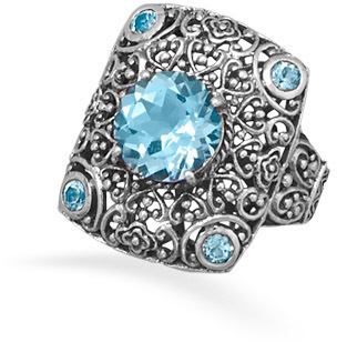 Ornate Blue Topaz Ring 925 Sterling Silver