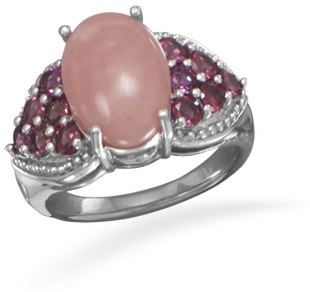 Rhodolite and Pink Opal Ring 925 Sterling Silver