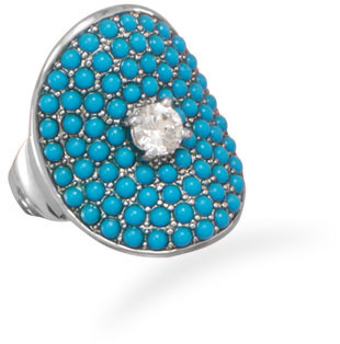 Rhodium Plated Synthetic Turquoise and CZ Ring 925 Sterling Silver