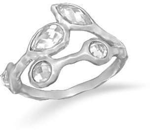 Rhodium Plated CZ Vine Design Ring 925 Sterling Silver