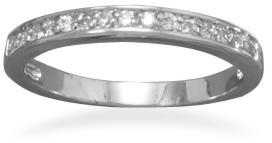 Rhodium Plated CZ Ring 925 Sterling Silver