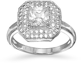 Rhodium Plated Ring with Square CZ 925 Sterling Silver