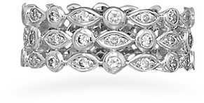 Rhodium Plated Triple Band CZ Ring 925 Sterling Silver