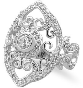 Rhodium Plated Vintage CZ Ring 925 Sterling Silver