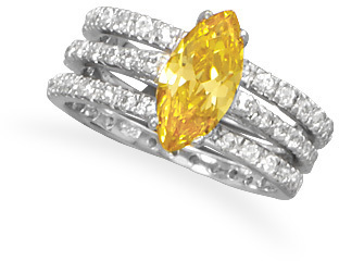 Rhodium Plated Yellow CZ Three Ring Set 925 Sterling Silver