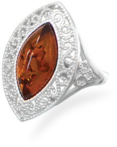 Baltic Amber Scroll Design Ring 925 Sterling Silver
