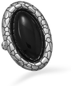 Oxidized Black Onyx Cobblestone Ring 925 Sterling Silver