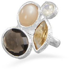 Moonstone, Citrine and Quartz Ring 925 Sterling Silver